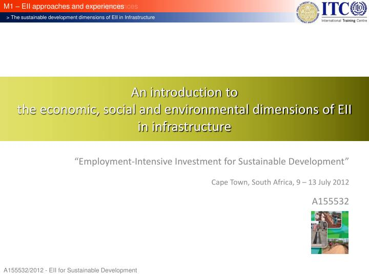 An introduction to the economic social and environmental dimensions of eii in infrastructure
