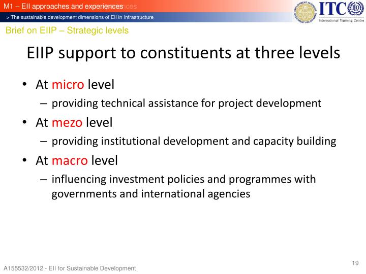EIIP support to constituents at three levels