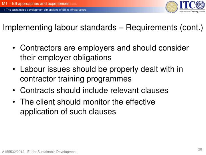 Implementing labour standards – Requirements (cont.)