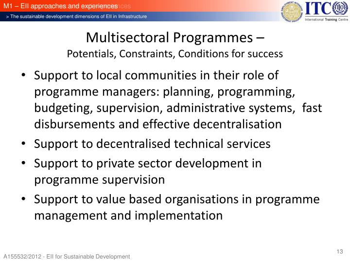 Multisectoral Programmes –