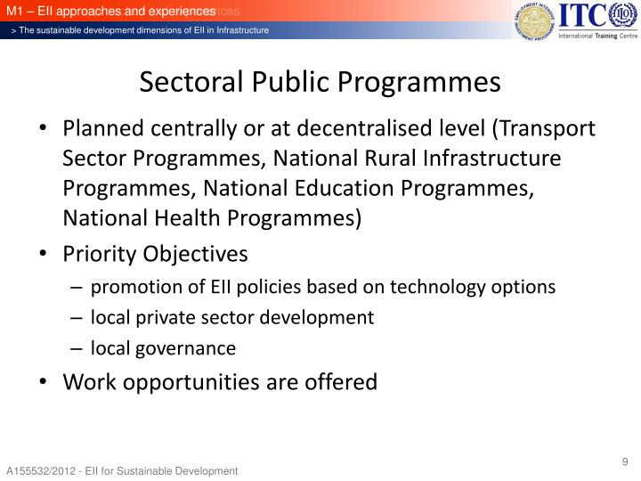 Sectoral Public Programmes