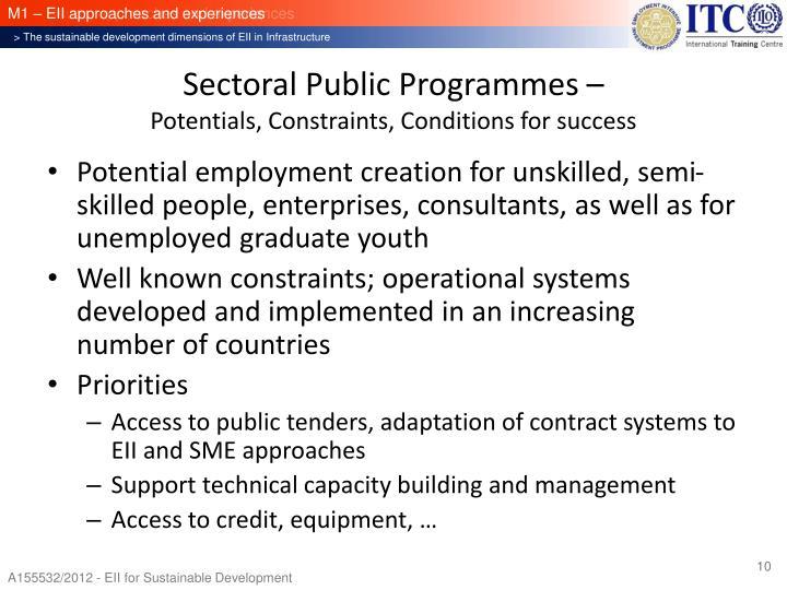 Sectoral Public Programmes –