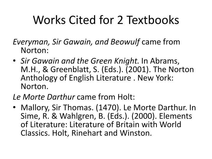 Works Cited for 2 Textbooks
