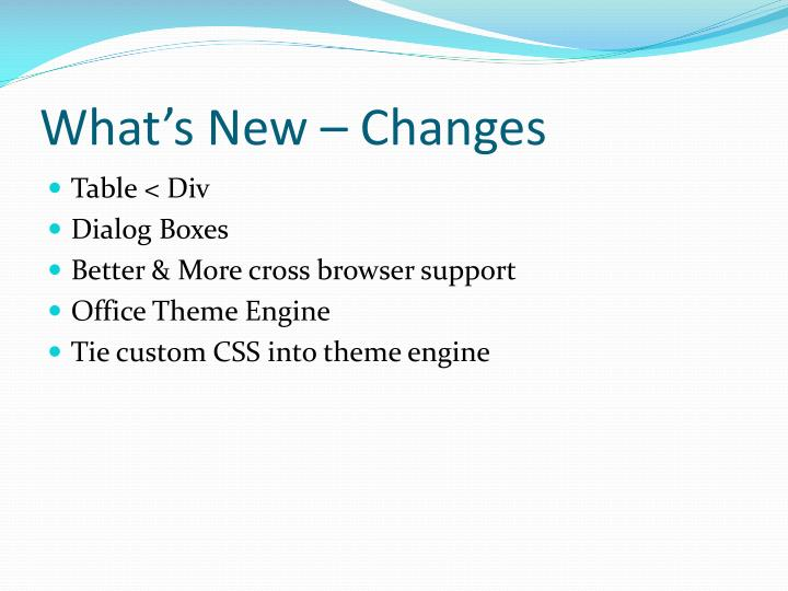 What's New – Changes