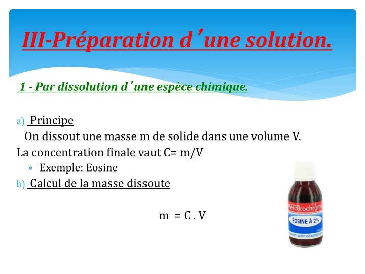 III-Préparation d