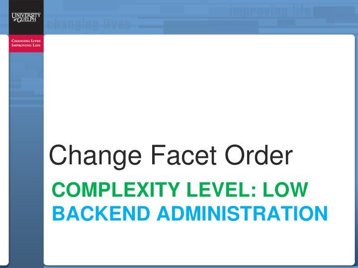 Change Facet Order