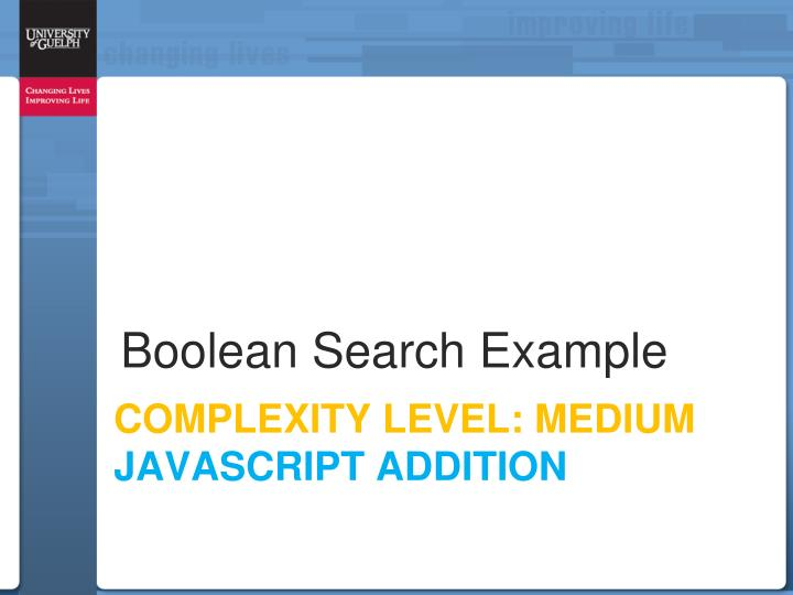 Boolean Search Example