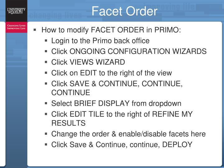 Facet Order
