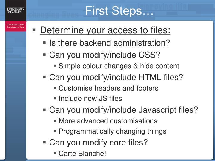 First Steps…