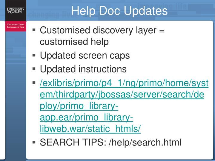 Help Doc Updates