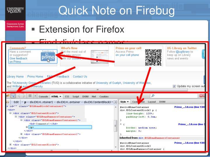 Quick Note on Firebug