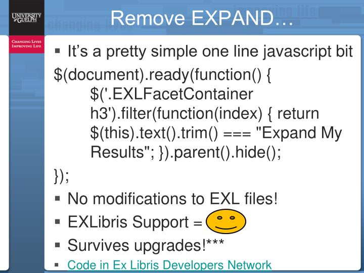 Remove EXPAND…