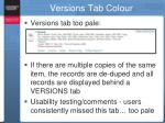 versions tab colour