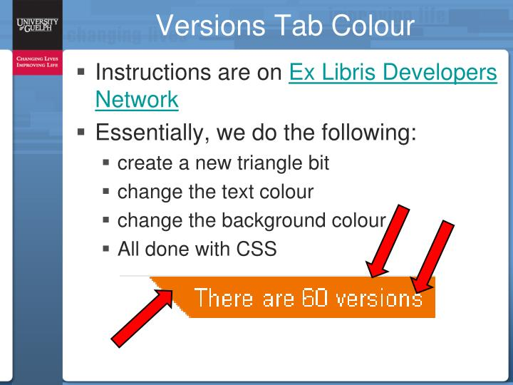 Versions Tab Colour