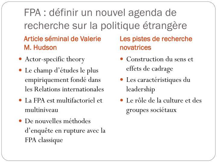 FPA : définir un nouvel agenda de recherche sur la politique étrangère