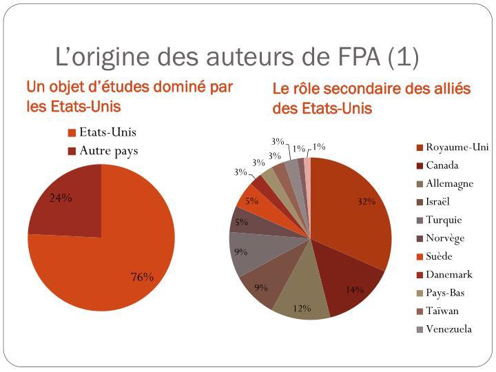 L'origine des auteurs de FPA (1)