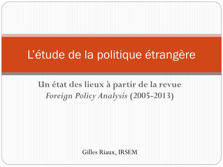 l tude de la politique trang re