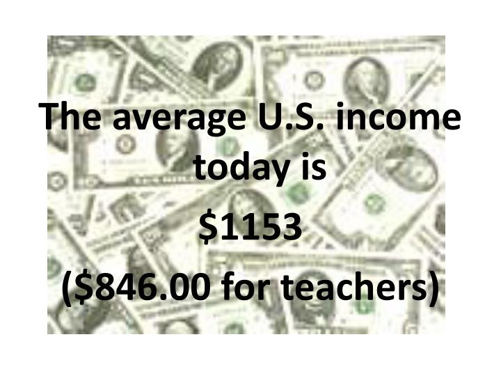The average U.S. income today is
