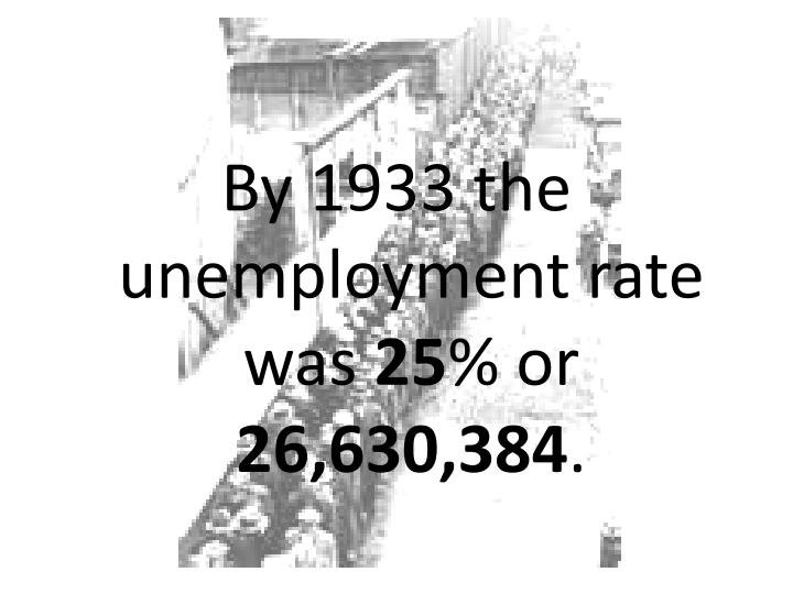 By 1933 the unemployment rate was