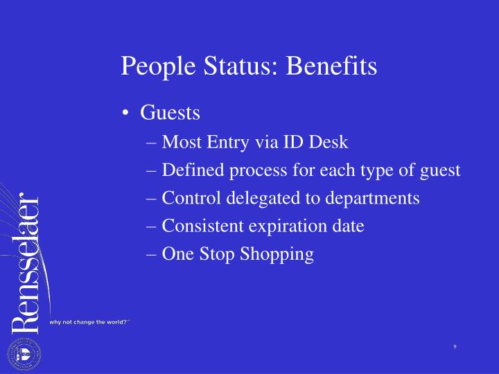 People Status: Benefits