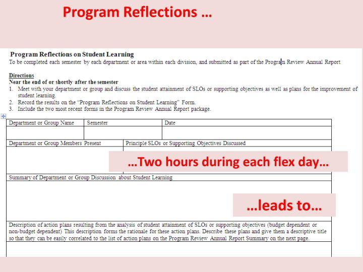 Program Reflections …