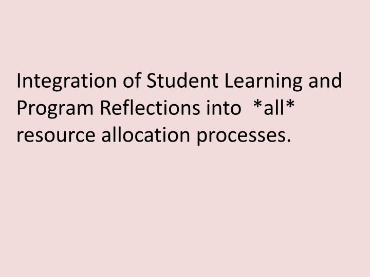 Integration of Student Learning and Program Reflections into  *all* resource allocation processes.