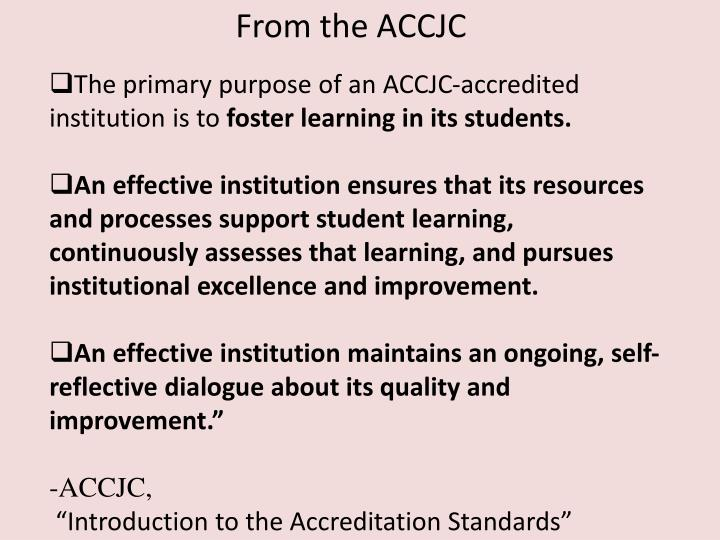 From the ACCJC