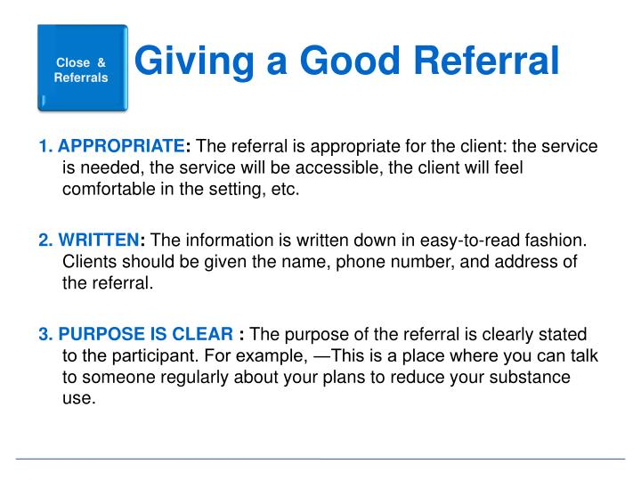 Giving a Good Referral
