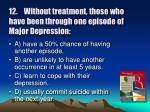 12 without treatment those who have been through one episode of major depression1