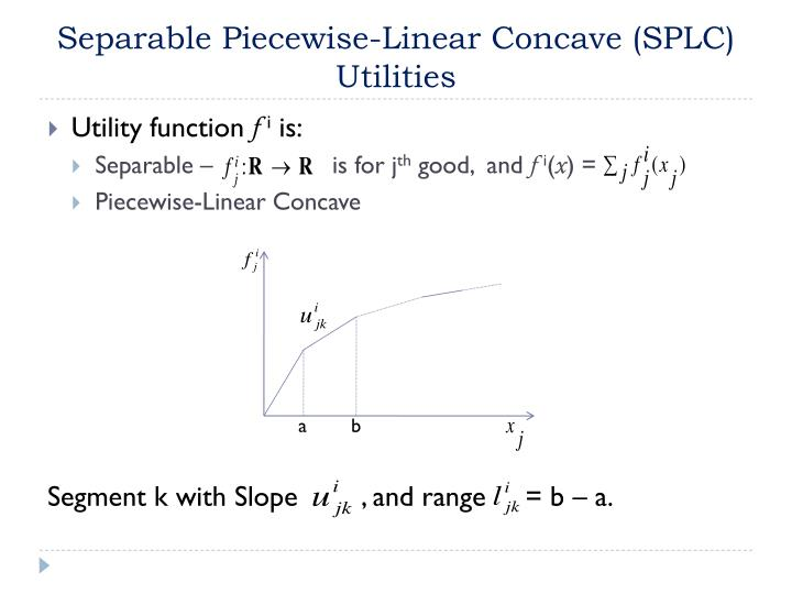 Separable Piecewise-Linear Concave (SPLC) Utilities