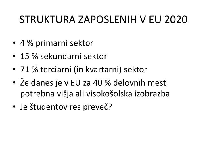 STRUKTURA ZAPOSLENIH V EU 2020