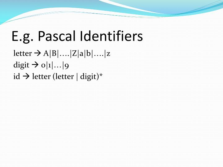 E.g. Pascal Identifiers