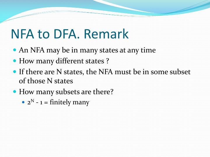 NFA to DFA. Remark
