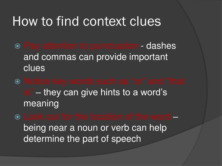 How to find context clues