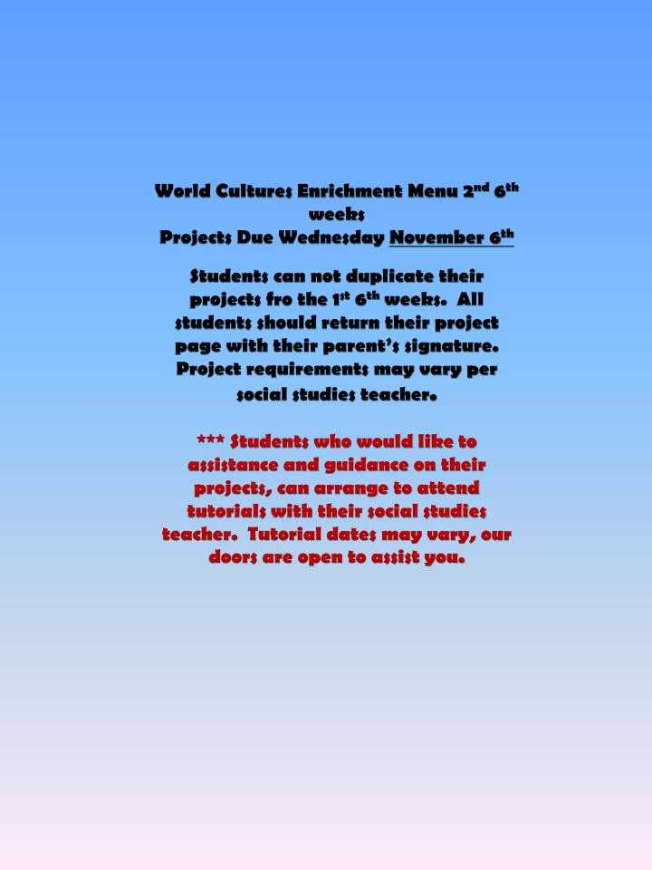 World Cultures Enrichment Menu 2