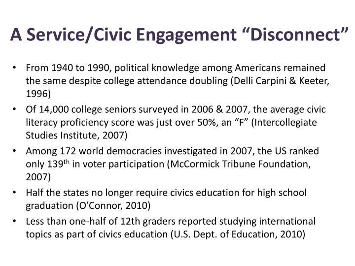 "A Service/Civic Engagement ""Disconnect"""