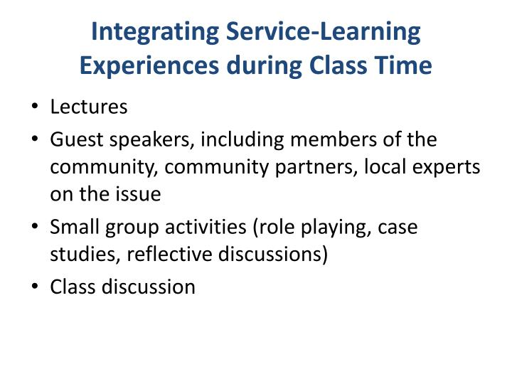 Integrating Service-Learning Experiences during Class Time
