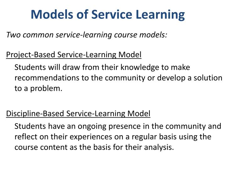 Models of Service Learning