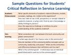 sample questions for students critical reflection in service learning