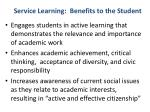 service learning benefits to the student