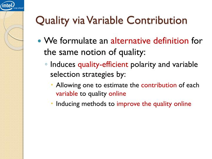 Quality via Variable Contribution