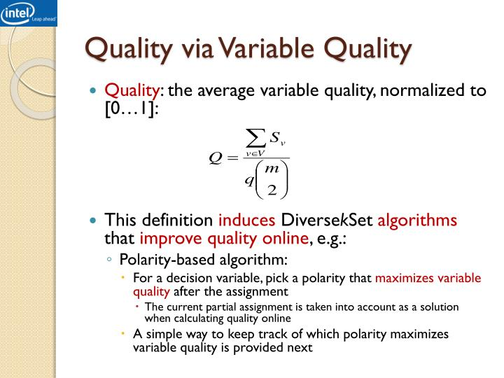 Quality via Variable Quality