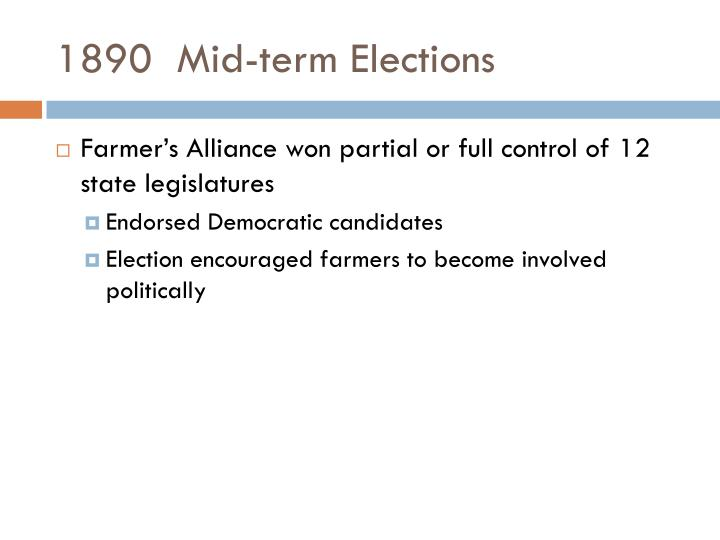 1890  Mid-term Elections