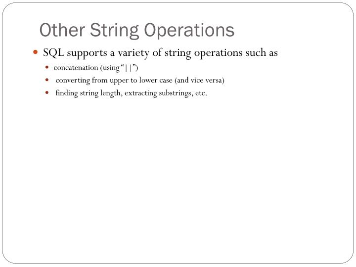 Other String Operations