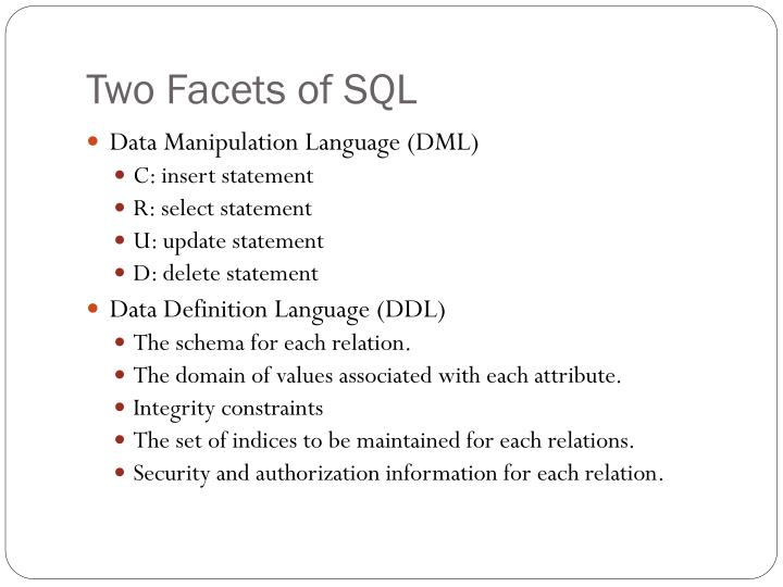 Two facets of sql