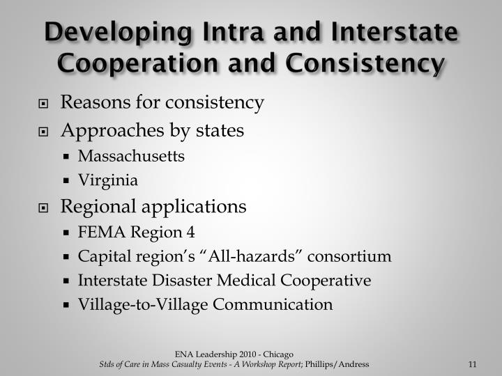 Developing Intra and Interstate Cooperation and Consistency