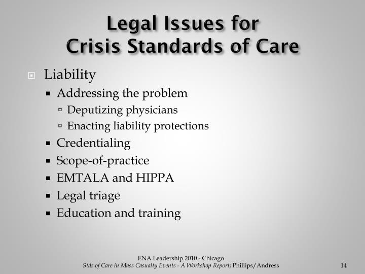 Legal Issues for                                   Crisis Standards of Care
