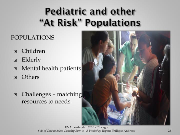 "Pediatric and other                               ""At Risk"" Populations"