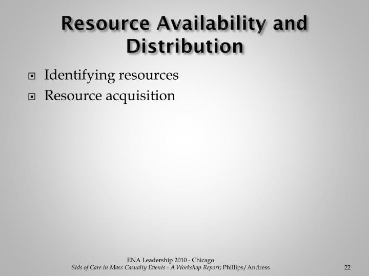 Resource Availability and Distribution