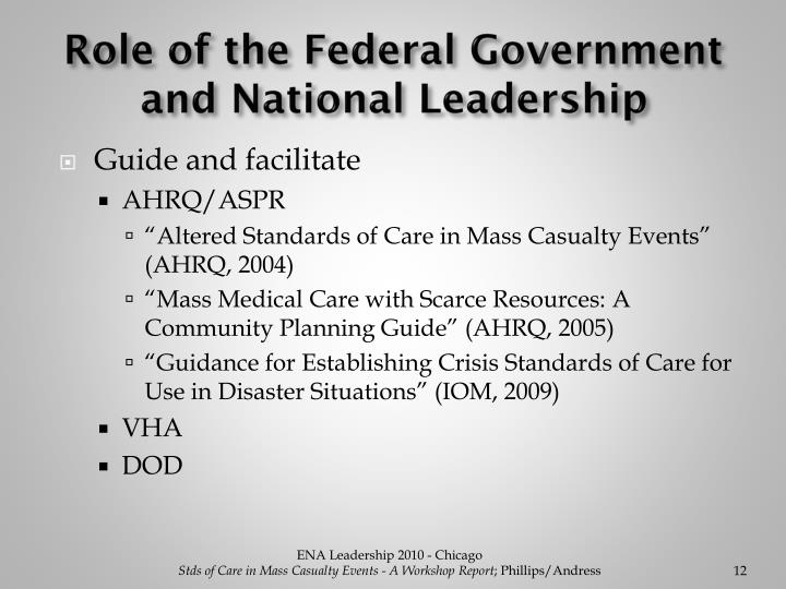 Role of the Federal Government and National Leadership